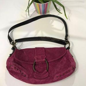 Francesco Biasia Pink Purple Suede Handbag